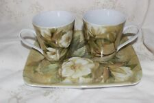 Pimpernel Trio 2 Coffee Tea Mug and Tray Gardenia