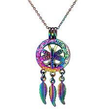 C709 Dragonfly Dream Catcher COLORFUL Aroma Diffuser Pearl Cage Locket Necklace