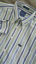 FACONNABLE Men's Long Sleeve Striped Dress Shirt Sz XL Oxford Collar 100% Cotton