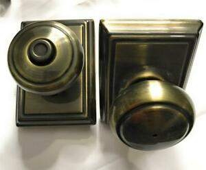 Schlage Andover Knob with Addison Trim Bed Bath Door Lock, Antique Brass