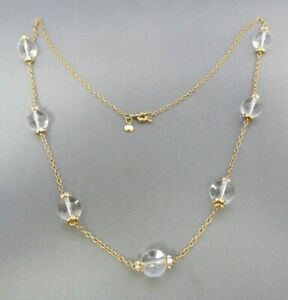 J. CREW GOLD TONE CLEAR LUCITE BALL BEAD RHINESTONE FLAPPER DROP NECKLACE