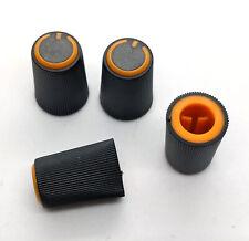 4x Orange & Black D-Shaft 270° Pot Knobs for 6mm Dj-Tech Behringer Soundcraft