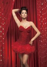 CORSET SEXY GLAMOUR ROUGE avec roses rouge TAILLE M ou XL - neuf