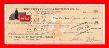 1948 Coca Cola Tell City Ind Old Bottling Co Check #425