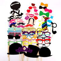 58PCS Masks Photo Booth Props Mustache On A Stick Birthday Wedding Party TPI