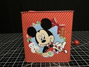 2011 Disney Mickey Minnie Mouse Goofy Pluto Christmas Jack in the Box Gemmy Tin