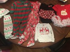 New listing Toddler Baby Girl Lot Of 7 Clothes- Holiday Dress Footie Pajamas Pants Tops Euc