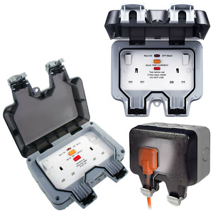 BG Electrical Weatherproof RCD 13A Switched Socket Box Garden IP66 Outdoor Plug