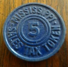Vintage Blue Mississippi School Tax Token Five 5
