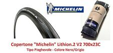 "Copertone Michelin Lithion 2-V2 Nero/Grigio 700x23C per Bici 28"" Fixed Scatto Fi"
