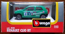 RENAULT CLIO RT Vintage 1980's Burago 1/43 Green Die Cast Model Car #4130 NEW!