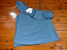 Denim One Shoulder Frill Ladies  Top size 12