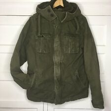 Abercrombie & Fitch Green Distressed Military Jacket Hood Mens Size XL Heavy