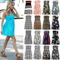 Womens Printed Sheering Boob Tube Bandeau Gather Strapless Vest Mini Dress Top