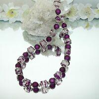 Halskette Würfelkette Kette Perlen lila violett aubergine Würfel klar  449f