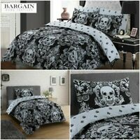 UK BAROQUE SKULL DESIGN DUVET COVER WITH PILLOW CASE GOTHIC QUILT COVERS BED SET