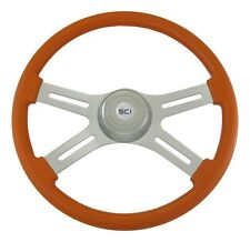 "18"" Orange 4 Spoke Classic Steering Wheel 3-Hole for Freightliner, Peterbilt, KW"