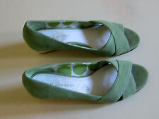 ANNE KLEIN Lime Green Suede Espadrille Wedge SHOES