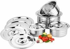 Stainless Steel Tope with Lid Extra Light Weight Perfect for Dining Pack of 6