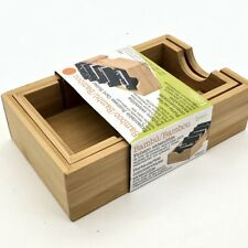 Bamboo Expandable Business Card Holder 3 Removable Dividers Alphabet Index Tabs