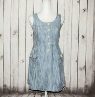 Steven Alan Women's 100% Linen Sleeveless Dress Chambray Striped Size Small