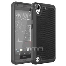 HTC Desire 530 Rugged Rubber Dual Layer Impact Shockproof Hybrid Case - Black