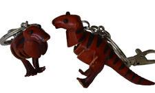 A Pair Set (2 Pieces) of Leather Keychain, Dinosaur T-Rex Pattern, DK.Brown