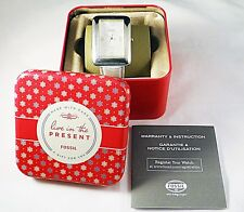 RARE MODEL WOMENS RETRO FOSSIL MOTHER PEARL FACE WATCH SILVER w MANUAL & TIN