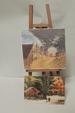 ARTIST EASEL MADE OF WOOD WITH TWO PAINTINGS DOLLS MINIATURE  1:12 SCALE NEW !