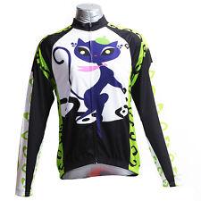 Cat Girl Women's Sportswear Long Sleeve Cycling Jerseys Bicycle Bike Shirt Green