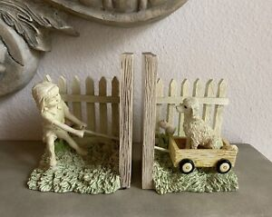 Bookends Girl Pulling Dog in Wagon Picket Fence