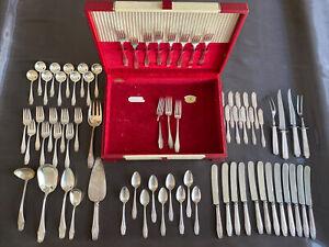 Vintage Alvin Sterling Silver 71 Pc Set Of Various Flatware Spoons Forks Knives