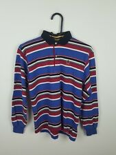 WOMENS VTG RETRO TOMMY HILFIGER STRIPED LONG SLEEVE OVERHEAD POLO TOP JUMPER 4-6