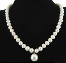 7-8MM Real Natural White Pearl/ 12MM Shell Pearl Round Bead Pendant Necklace 18""