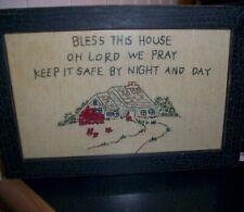 Primitive embroidered framed sampler Lisa Johnson Collection Bless This House