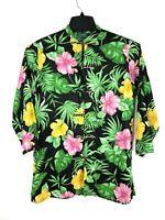 LAUREN Ralph Lauren 100% Linen Kimono Jacket Sz Small Green Tropical Lagenlook