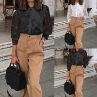 UK Women Polka Dot Sheer See-through Long Puff Sleeve Top Blouse Club Shirt 8-26