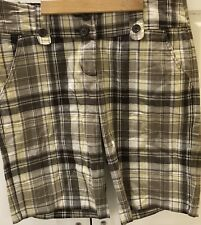 Bugle Boy For Her Size L Large Plaid Board Shorts Cotton Blend