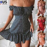 Womens Sexy Polka Dot Off Shoulder Ruffle Mini Dress Summer Beach Party Sundress