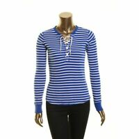 LAUREN RALPH LAUREN NEW Women's Lace-up Thermal Striped Casual Shirt Top XS TEDO