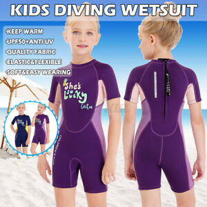 2.5mm Kids Shortie Wetsuit Childs Shorty Girls Beach Swim Durable Anti-UV