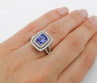 4ct Emerald Blue Tanzanite Halo Split Band Engagement Ring 14k White Gold Finish