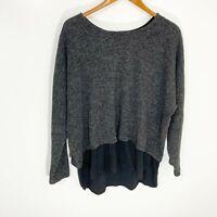 Sympli Gray Black Knit Shirttail Dolman Sleeve Crew Neck Sweater Women's Size 10