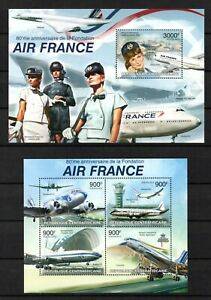 """Central African Republic: Serie Of 2 Blocks """" Air France """" New Value"""