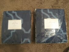 "NEW Pottery Barn Blue Trisha Geo 54"" x. 96"" Drapes Curtains Set/2. FREE SHIPPING"