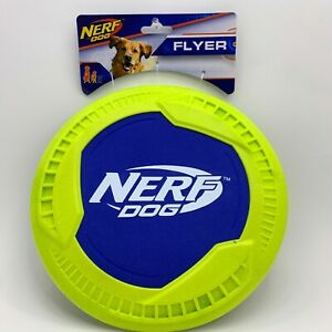 Nerf Dog Flyer Neon Yellow Blue Frisbee Durable Rubber Flying Disc Toy