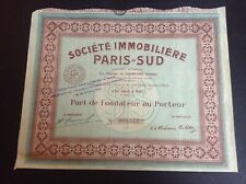 Ancienne action Société immobilière Paris Sud