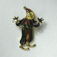 Clown Brooch Jewelry Goldtone Pin Circus Pointed Hat Bowtie Enamel Articulating