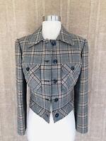 Vintage Jones New York 10 Gray Plaid  Cropped Sart Jacket Buttoned Wool EUC