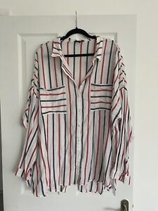 New Look Red Blue And White Striped Casual Shirt - Size 30